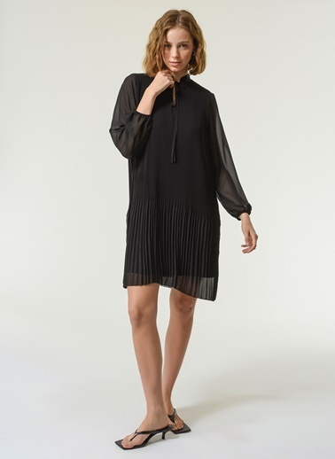 NGSTYLE Kadın Piliseli Şifon  Elbise NGKSS21EL0013 Siyah